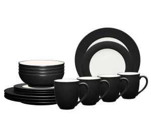 Noritake Colorwave Graphite Rim Dinnerware Set