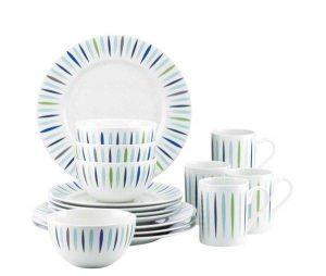 Dansk The Burbs Starburst Blue 16-PIece Dinnerware Set