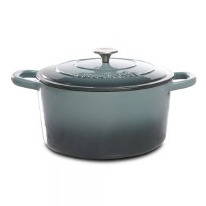 Crock Pot 7 Quart Gray Round Enameled Cast Iron Dutch Oven