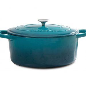 Crock Pot Artisan 7 Quart Teal Oval Dutch Oven