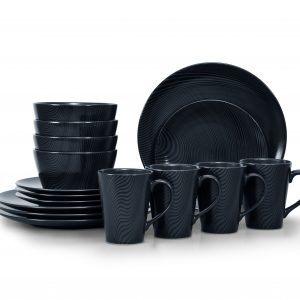 Noritake Black On Black Dune Round 16-Piece Dinnerware Set