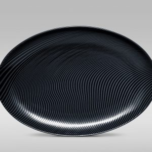 Noritake Black On Black Dune Oval Platter