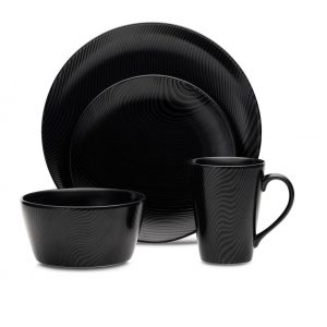 Noritake Black On Black Dune 4 Piece Place Setting