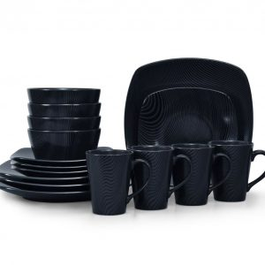 Noritake Black On Black Dune Square 16-Piece Square Dinnerware Set