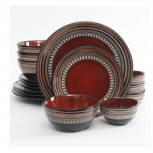 Gibson Elite Cafe Versailles Red Dinnerware Set