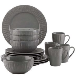 Dansk Burbs Carved Slate 16-Piece Dinnerware Set