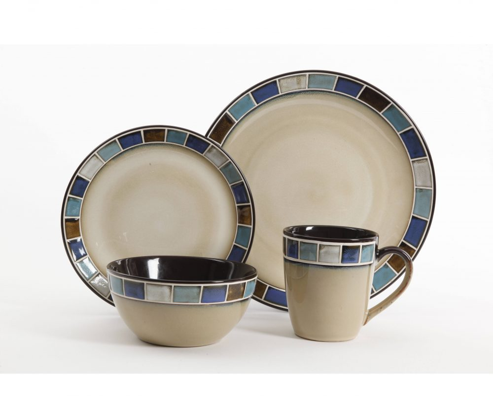 Multi-Color Reactive Glaze Stoneware Dinnerware Set  sc 1 st  Plum Street Pottery & Gibson Casa Azul 16-Piece Dinnerware Set Blue | Plum Street Pottery
