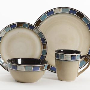 Gibson Casa Estebana 16-Piece Dinnerware Set Blue