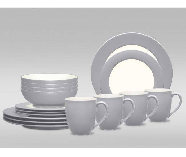 Noritake Colorwave Slate Rim 16 Piece Dinnerware Set