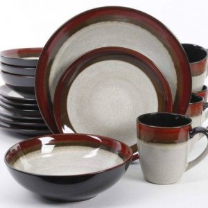 Gibson Elite Couture Bands Red Dinnerware Set