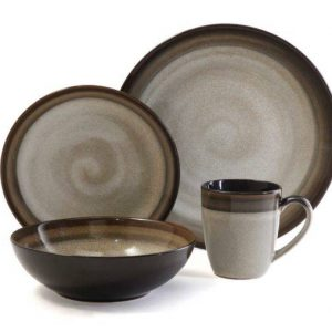 Gibson Elite Couture Bands Brown Stoneware Dinnerware Set
