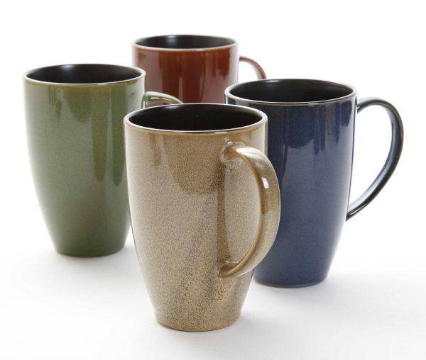 Gibson Earthly Jewels Coffee Mugs Set Of Four Plum