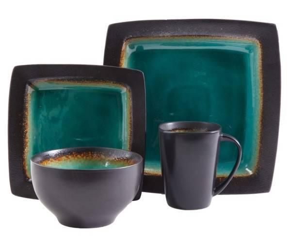 Reactive Glaze Square Stoneware Dinnerware Set  sc 1 st  Plum Street Pottery & Gibson Elite Ocean Paradise Jade 16 Piece Dinnerware Set