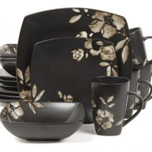 Gibson Lanark 16-Piece Dinnerware Set, Cream Black
