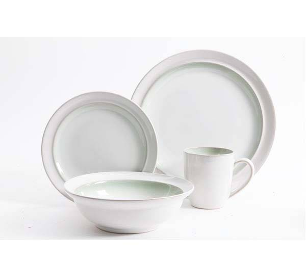 White and Green Round Stoneware Dinner Set  sc 1 st  Plum Street Pottery : green and white dinnerware - pezcame.com