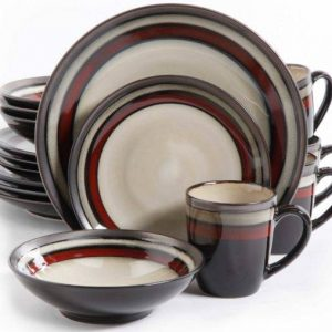 Gibson Lewisville Red 16-Piece Dinnerware Set