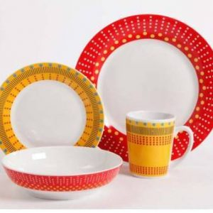 Gibson Home Lockhart Red & Yellow 16 Piece Dinnerware Set