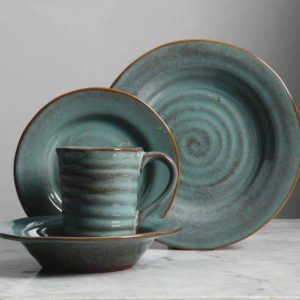 Gibson Elite Mariani Teal Dinnerware Set
