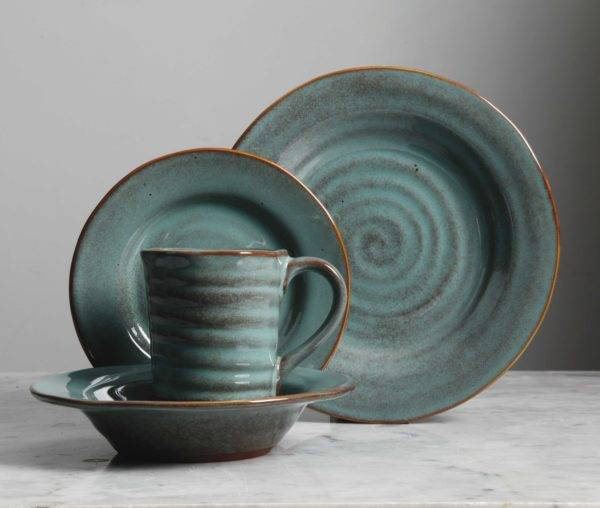 Teal Reactive Glaze Stoneware Dinnerware Set & Mariani Teal Dinnerware Set | Gibson Elite | Plum Street Pottery