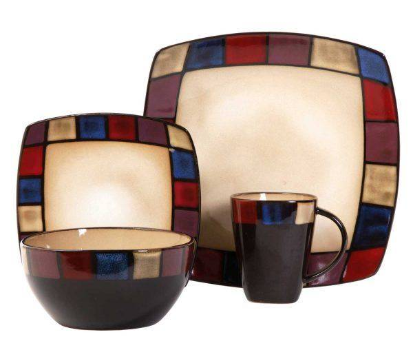 Multi-Colored Reactive Glazed Stoneware Dinnerware Set  sc 1 st  Plum Street Pottery & Gibson Soho Lounge Mosaic 16-Piece Dinnerware Set | Plum Street Pottery