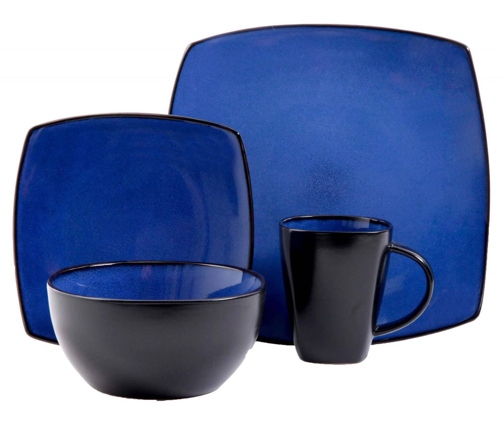 Gibson Soho Lounge Blue 16 Piece Dinnerware Set Plum