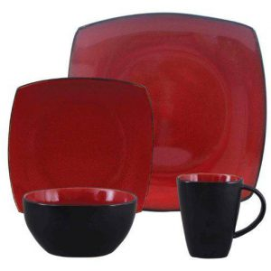 Gibson Soho Lounge Red 16-Piece Dinnerware Set