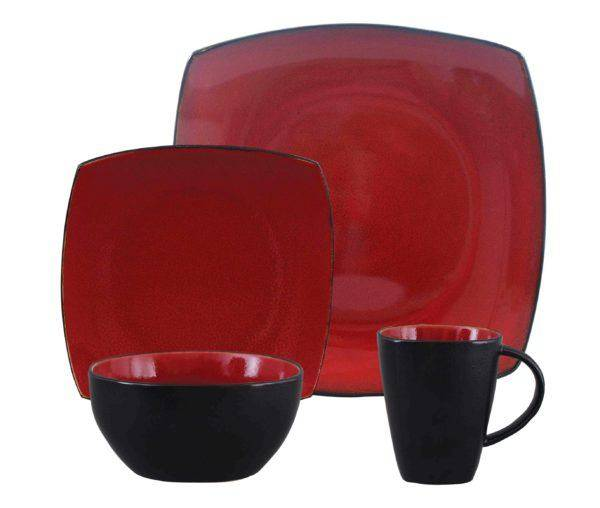 Gibson Soho Lounge Red Dinnerware Set Plum Street Pottery