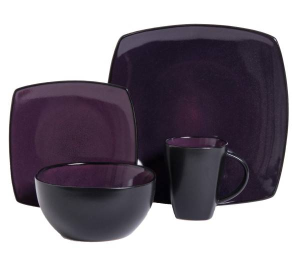 Purple Reactive Glazed Stoneware Dinnerware Set  sc 1 st  Plum Street Pottery & Gibson Soho Lounge Purple 16-Piece Dinnerware Set | Plum Street ...