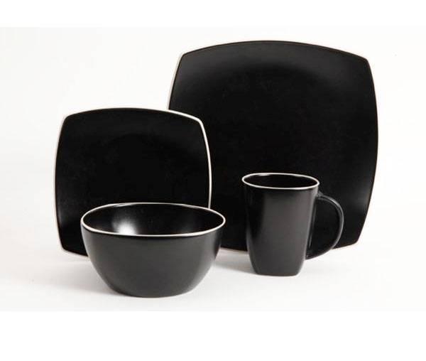 gibson soho lounge matte black dinnerware set