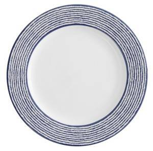 D&V Fortessa Nantucket Stripe Blue Dinner Plate