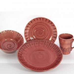 Gibson Frantelli Red Hand-Crafted 4-Piece Place Setting