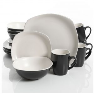 Gibson Home Tristen Matte White 16-Piece Dinnerware Set