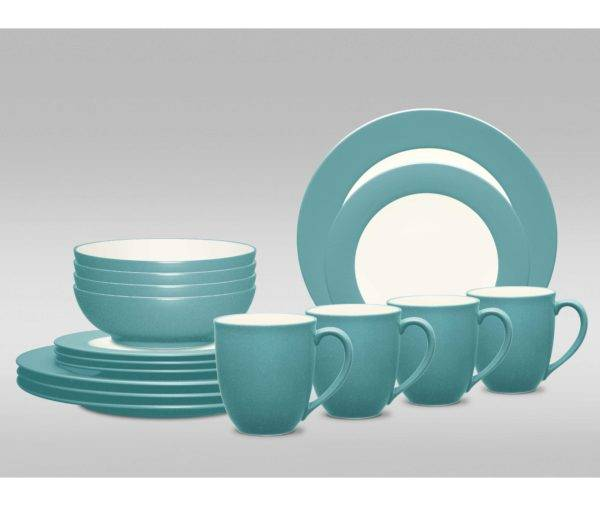 Stoneware Dinnerware Set & Noritake Colorwave Turquoise Rim Dinnerware Set | Plum Street Pottery