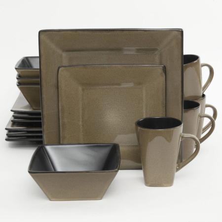 Gibson Kiesling Taupe 16-Piece Dinnerware Set