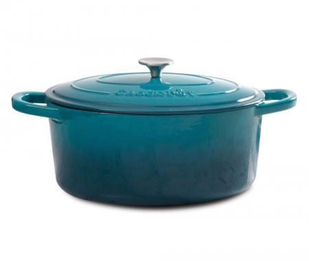 Crock Pot Artisan 7 Quart Teal Oval Dutch Oven