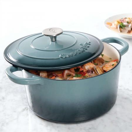 Crock Pot Artisan 5 Qt Enameled Round Cast Iron Dutch Oven