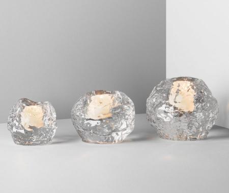 Kosta Boda Nordic Light Snowball Votive Three Pack Plum