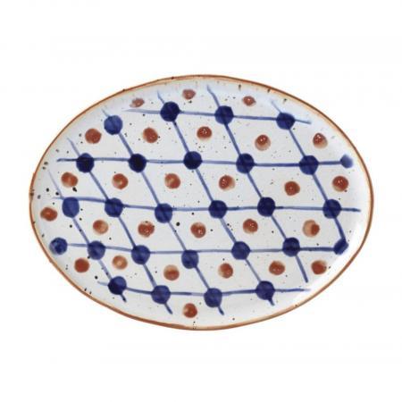 Dansk Vandvid Dot Grid Oval Stoneware Plate