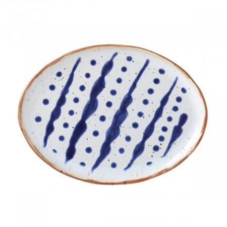 Dansk Vandvid Dots-Lines Oval Stoneware Plate