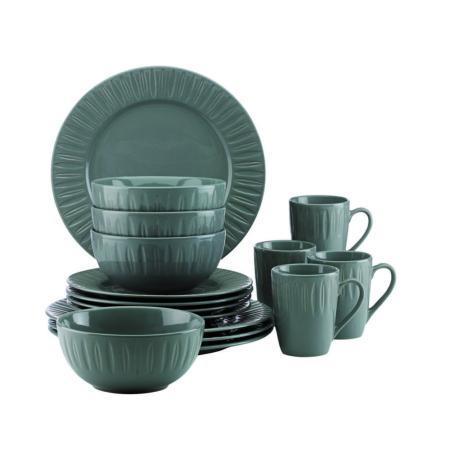 Dansk Carved Lily Slate 16-Piece Dinnerware Set