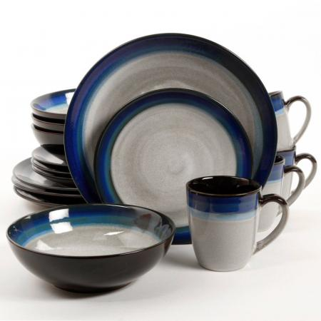 Gibson Couture Bands Blue 16-Piece Dinnerware Set