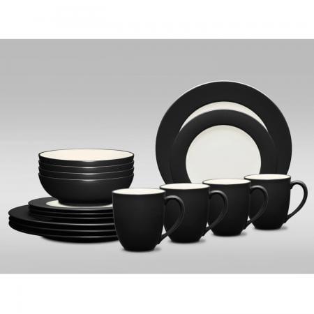 Noritake Colorwave Graphite Rim 16-Piece Dinnerware Set