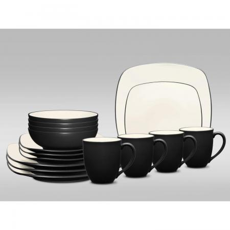 Noritake Colorwave Graphite Square 16-Piece Dinnerware Set
