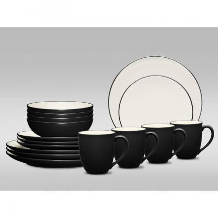 Noritake Colorwave Graphite Coupe 16-Piece Dinnerware Set