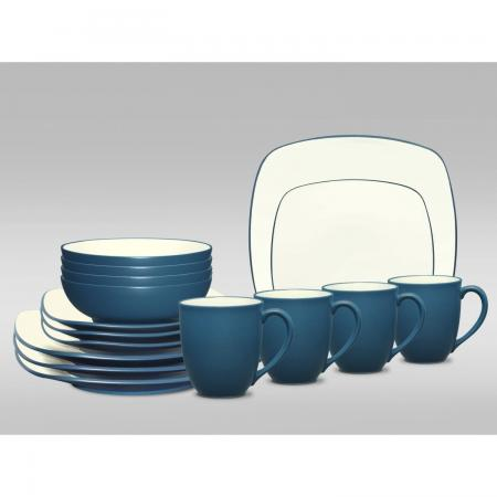 Noritake Colorwave Blue Square 16-Piece Dinnerware Set