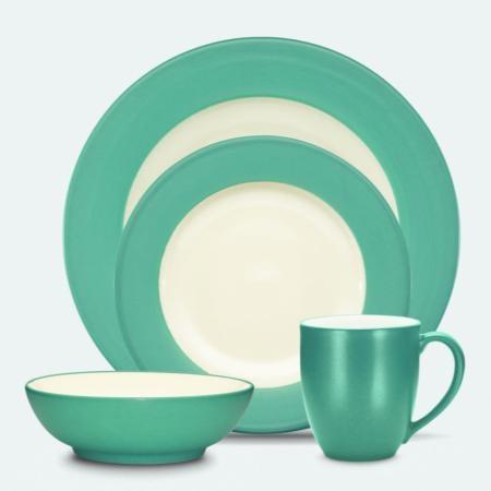 Noritake Coloriage Turquoise Rim 4-Piece Place Setting