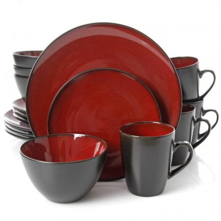 Gibson Soho Lounge Round Red 16-Piece Dinnerware Set