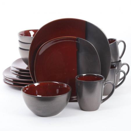 Gibson Volterra Red 16-Piece Dinnerware Set