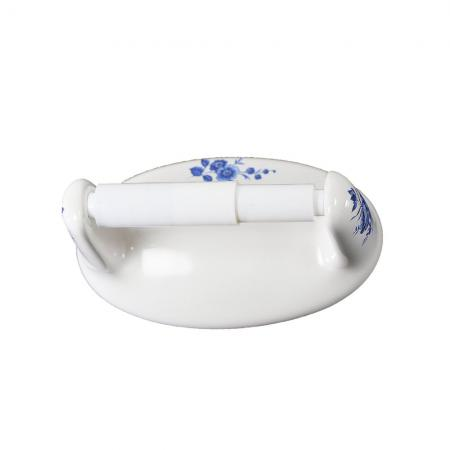 Lenape Classic Decorated Blue Flower Ceramic Toilet Paper Holder