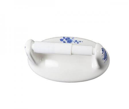Lenape Classic Blue Flowers White Ceramic Toilet Paper Holder